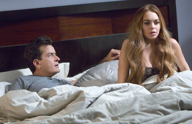 "Charlie Sheen and Lindsay Lohan in ""Scary Movie 5"""