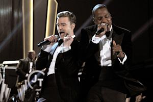 Justin Timberlake and Jay-Z at the 55th Annual GRAMMY Awards at STAPLES Center in Los Angeles on February 10th, 2013.
