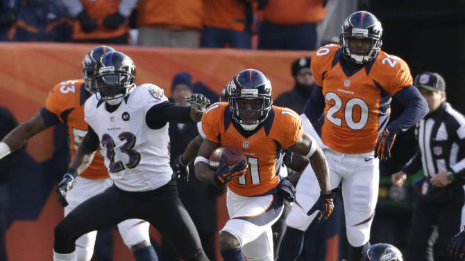 Denver Broncos wide receiver Trindon Holliday (11) returns a punt 90 yards for a touchdown against the Baltimore Ravens in the first quarter of an AFC divisional playoff NFL football game, Saturday, Jan. 12, 2013, in Denver. (AP Photo/Ed Andrieski)