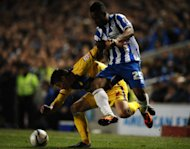 Brighton and Hove Albion&#39;s Kazenga LuaLua battles with Crystal Palace&#39;s Joel Ward (left)