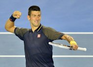 Serbia's Novak Djokovic reacts after a point against Spain's David Ferrer during their men's singles semi-final match on day 11 of the Australian Open, in Melbourne, on January 24, 2013. Djokovic faces Andy Murray in the final on Sunday as they renew a rivalry which has become the premier match-up in men's tennis