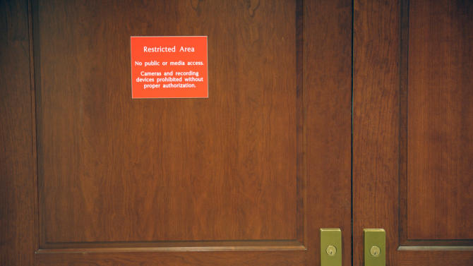 Locked doors secure the hallway outside the hearing room where former CIA Director David Petraeus is testifing before the House Intelligence committee on the Sept. 11, 2012 attack in Libya, on Capitol Hill in Washington, Friday, Nov. 16, 2012. (AP Photo/Cliff Owen)
