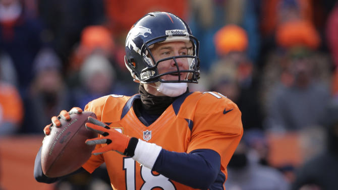 Denver Broncos quarterback Peyton Manning steps back to pass against the Baltimore Ravens in the first quarter of an AFC divisional playoff NFL football game, Saturday, Jan. 12, 2013, in Denver. (AP Photo/Charlie Riedel)