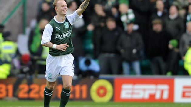Leigh Griffiths celebrates scoring the game's only goal