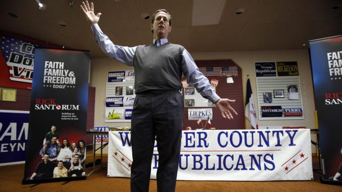 Republican presidential candidate, former Pennsylvania Sen. Rick Santorum speaks during a town hall meeting at the Fort Dodge GOP Headquarters, Tuesday, Dec. 27, 2011, in Fort Dodge, Iowa. (AP Photo/Charlie Neibergall)