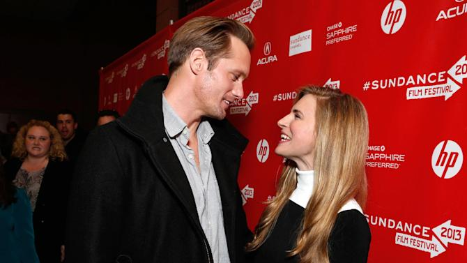 """IMAGE DISTRIBUTED FOR FOX SEARCHLIGHT - Actors Alexander Skarsgard, left, and Brit Marling attend Fox Searchlight's """"The East"""" premiere during the Sundance Film Festival on Sunday, Jan. 20, in Park City, Utah. (Photo by Todd Williamson/Invision for Fox Searchlight/AP Images)"""