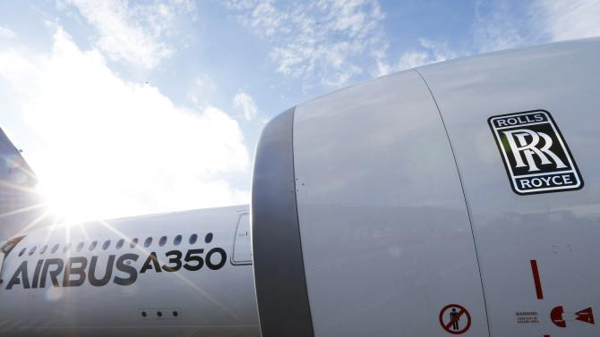 File photograph of an Airbus A350 with a Rolls-Royce engine at the Airbus headquarters in Toulouse