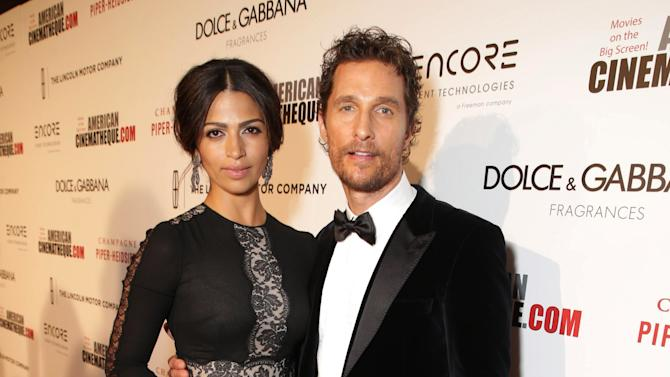 Camila Alves and Matthew McConaughey seen at the 28th Annual American Cinematheque Awards Honoring Matthew McConaughey held at The Beverly Hilton on Tuesday, Oct 21, 2014, in Beverly Hills. (Photo by Eric Charbonneau/Invision for American Cinematheque/AP Images)
