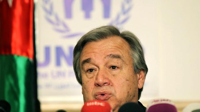 "The U.N. refugee agency chief Antonio Guterres speaks during a press conference in Amman, Jordan, Wednesday, March 13, 2013. Guterres, warns of an ""explosion"" in the Middle East, if the Syrian conflict continues, and calls on governments to approve ""extraordinary funds"" to meet an enveloping humanitarian crisis. (AP Photo/Raad Adayleh)"