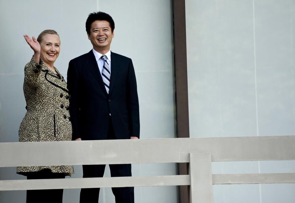 U.S. Secretary of State Hillary Rodham Clinton, left, and Japanese Foreign Minister Koichiro Gemba stand before a meeting at the Iikura Guest House on Sunday, July 8, 2012 in Tokyo. (AP Photo/Brendan Smialowski, Pool)