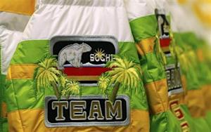 Jackets of the official German Olympic uniform for the Sochi Winter Olympic Games await collection by athletes in Erding
