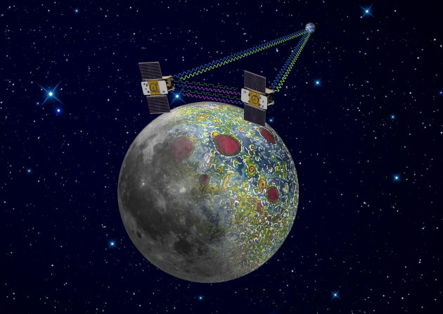 FILE - This undated artist file rendering provided by NASA on Dec. 21, 2011, shows the twin Grail spacecraft mapping the lunar gravity field. Launched from Cape Canaveral on Sept. 10, 2011, the spacecraft began collecting data in March, 2012. After nearly a year circling the moon, NASA's Ebb and Flow spacecraft will meet their demise when they are scheduled to crash - on purpose - into a lunar mountain Monday, Dec. 17, 2012, ending a successful mission. (AP Photo/NASA, Jet Propulsion Laboratory, File)