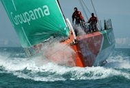 French team Groupama, pictured in action in February 2012, launched a comeback in the sixth stage of the Volvo Ocean Race on Saturday to keep their chances of scoring a second leg win alive