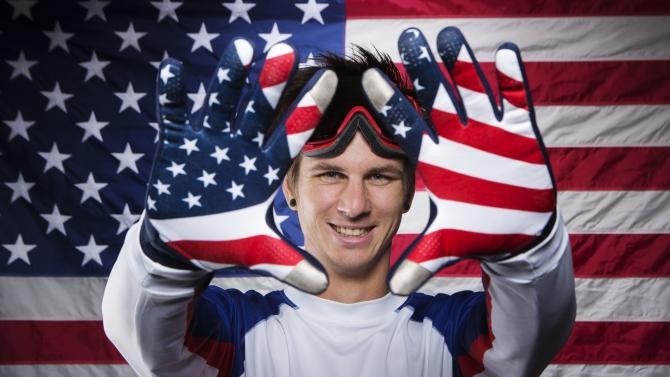 Paralympic snowboarder Strong poses during the 2013 U.S. Olympic Team Media Summit in Park City, Utah