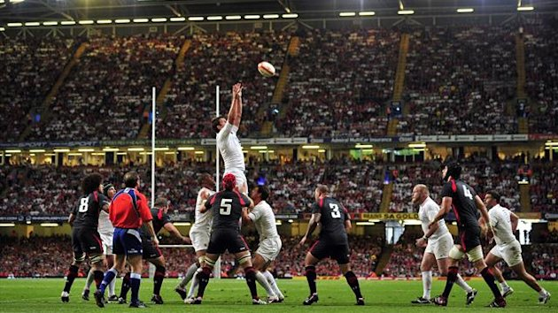 : England win the ball in a line-out during the World Cup Rugby Union warm up match between Wales and England at the Millennium Stadium, in Cardiff