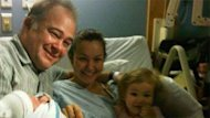 Mike and Lola Meakin with newborn daughter Tsarina and 2-year-old daughter Ceilidh.