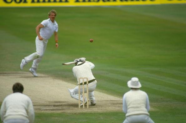 18 Jun 1985:  Wayne Phillips of Australia ducks from a bouncer off Ian Botham of England during the First Ashes Test match at Headingley in Leeds, England. England won the match by five wickets. \