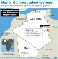 Map locating gas field attacked by self-proclaimed Al-Qaeda gunmen