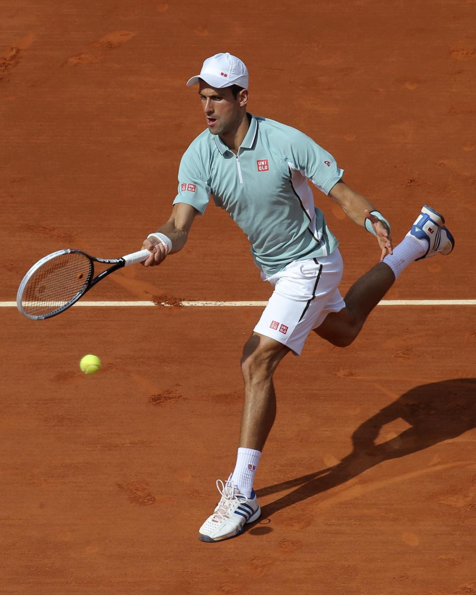 Serbia's Novak Djokovic returns the ball to Germany's Tommy Haas during their quarterfinal match of the French Open tennis tournament at the Roland Garros stadium Wednesday, June 5, 2013 in Paris. (AP Photo/Michel Euler)