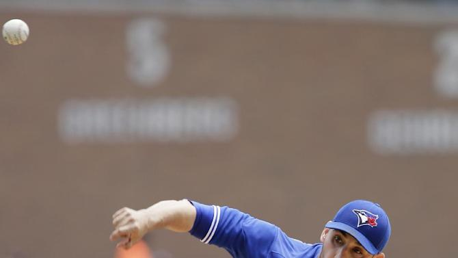 Toronto Blue Jays' Marco Estrada pitches against the Detroit Tigers during the first inning of a baseball game Sunday, July 5, 2015, in Detroit. (AP Photo/Duane Burleson)