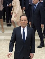 <p>French President Francois Hollande spoke by video conference with the leaders of Britain, Germany and Italy to talk about the eurozone crisis.</p>