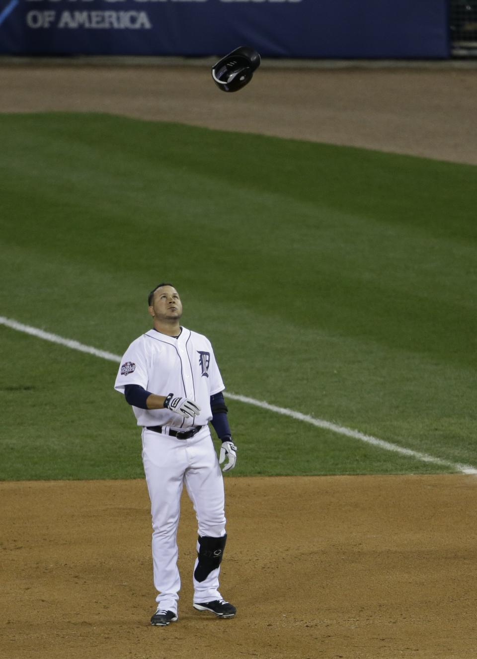 Detroit Tigers' Jhonny Peralta tosses his helmet in air after he popped out in sixth inning of Game 3 of baseball's World Series against the San Francisco Giants Saturday, Oct. 27, 2012, in Detroit (AP Photo/Patrick Semansky)