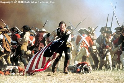 In the emotionally-charged Columbia Pictures adventure The Patriot (2000), Academy Award winner Mel Gibson (center) stars as Benjamin Martin, a reluctant hero who is swept into the American Revolution