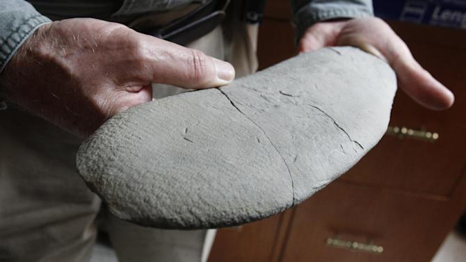 "In this April 20, 2012, photo, David Meyer, a professor of Geology at the University of Cincinnati, holds a lobe of a fossil at Caster Library on the campus in Cincinnati. Experts in the U.S. are trying to figure out what the 450 million-year-old fossil dubbed ""Godzillus"" used to be. The 150-pound fossil recovered last year in Kentucky by amateur paleontologist Ron Fine is more than 6 feet long. (AP Photo/The Cincinnati Enquirer, Gary Landers)  MANDATORY CREDIT;  NO SALES"
