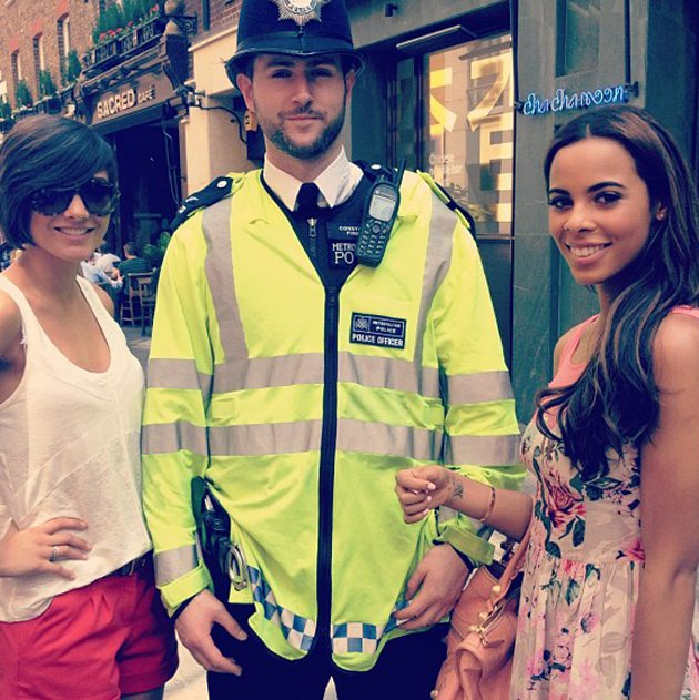 Celebrity photos: Rochelle Wiseman and Frankie Sandford had a brush with the law this week, with Rochelle tweeting this photo of the pair with a policeman. She tweeted it with the caption: Though we 