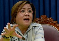 Philippine Justice Secretary Leila de Lima gives an interview to AFP in Manila on May 3, 2013. A Philippine panel preparing homicide charges against the country's coastguards over the death of a Taiwanese fisherman has formally asked his fellow crewmen to appear before it, Manila's justice secretary said Sunday