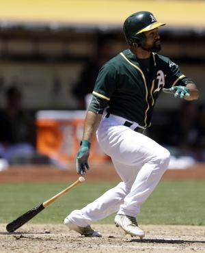 Moss powers A's past Astros 13-1