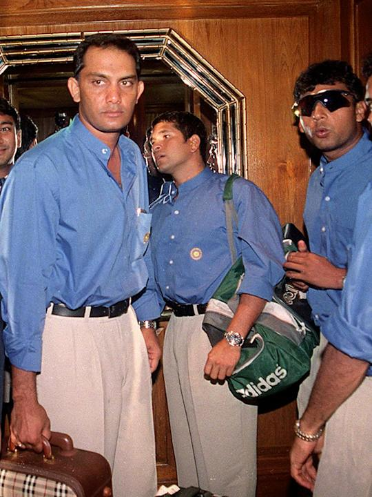 Indian cricket stars (L to R) Mohammad Azharuddin,