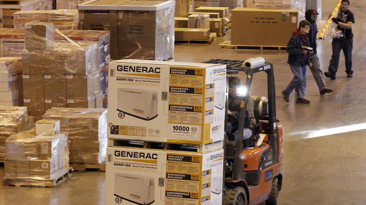 An employee works at a shipping area of Generac Power Systems.