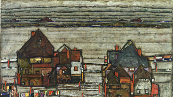 """This image provided by the Leopold Museum in Vienna show Egon Schiele's painting """"Houses with colorful laundry (Suburb II) from 1914. The painting will be auctioned at Sotheby's in London on June 22, 2011. (AP Photo/Leopold Museum, Manfrend Thumberger, Handout) EDITORIAL USE ONLY, NO SALES"""