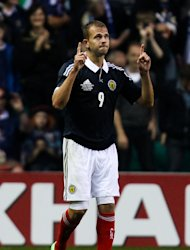 Jordan Rhodes is hoping to win his third Scotland cap against Serbia