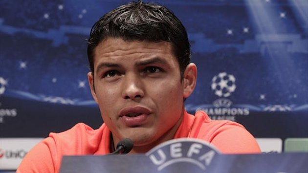 Paris Saint-Germain player Thiago Silva attends a news conference at the Parc des Princes stadium in Paris, March 5, 2013. (Reuters)
