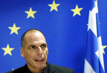 File picture of Greek Finance Minister Varoufakis at a news conference after a Euro zone finance ministers meeting in Luxembourg