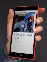 A Nokia Lumia 1520 is presented during the 2014 Mobile World Congress in Barcelona on February 24, 2014