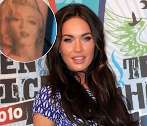 Megan Fox poses in the press room at the 2010 Teen Choice Awards held at the Gibson Amphitheatre in Universal City, Calif. on August 8, 2010 / inset: the actress' Marilyn Monroe tattoo -- Getty Images