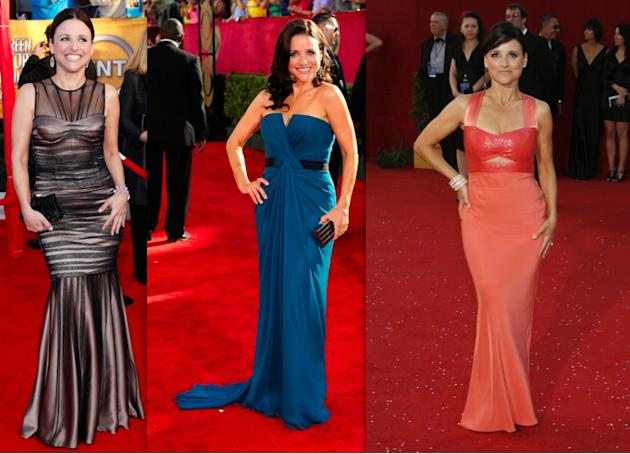 Julia Louis-Dreyfus' corset-top gowns