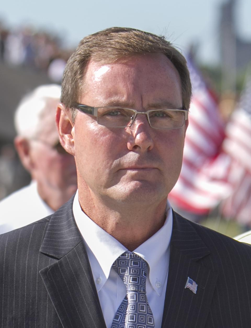 This file photo from July 25, 2011 shows Neb. Lt. Governor Rick Sheehy in Fremont, Neb. On Saturday, Feb. 2, 2013, Lt. Gov. Sheehy resigned. (AP Photo/Nati Harnik)
