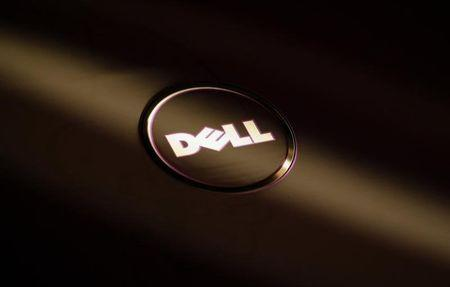 A company logo of Dell is seen on the cover of its laptop at a Dell outlet in Hong Kong