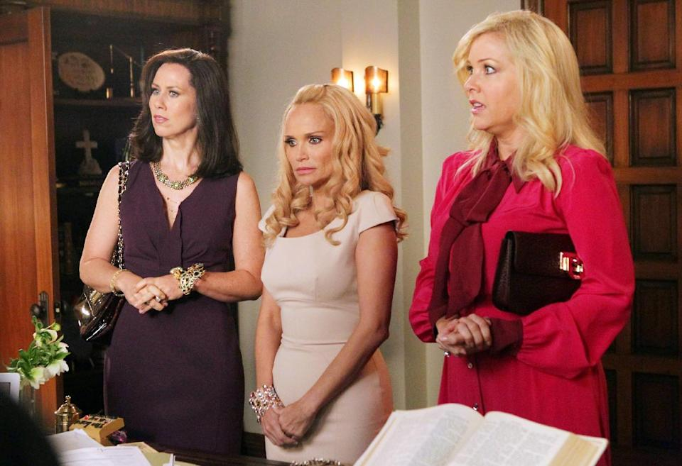 "In this undated image released by ABC, from left, Miriam Shor, Kristin Chenoweth and Jennifer Aspen are shown in a scene from the comedy series ""GCB,"" airing Sundays at 10 p.m. EST on ABC. (AP Photo/ABC, Karen Neal)"