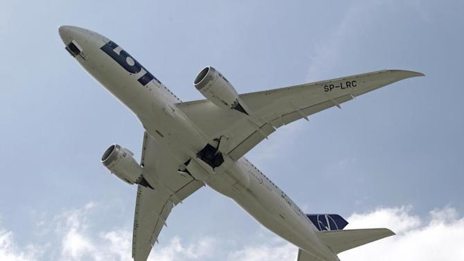Boeing 787 Dreamliner belonging to Polish airline LOT flies after taking off from the Chopin International Airport in Warsaw