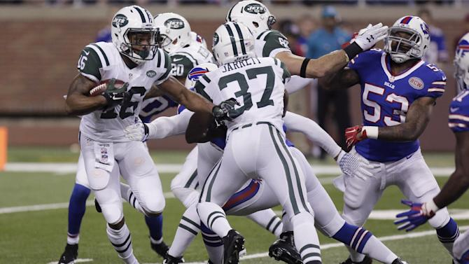 New York Jets wide receiver Percy Harvin (16) runs during the first half of an NFL football game against the Buffalo Bills in Detroit, Monday, Nov.24, 2014