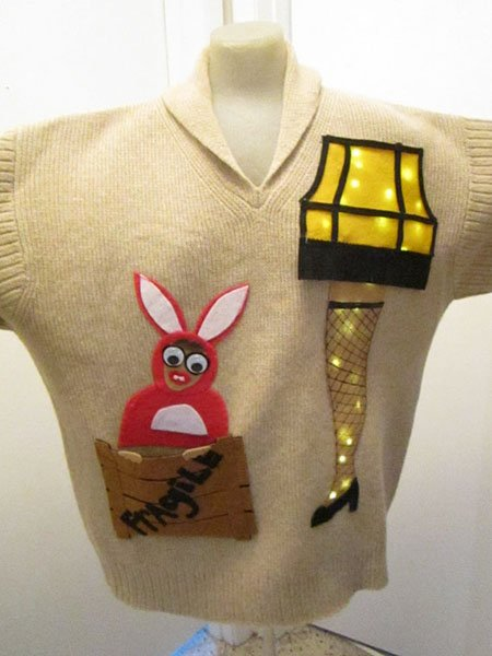 Leg Lamp Lighted Ugly Sweater, $85, etsy.com