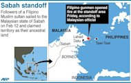 Graphic showing Malaysia&#39;s Sabah, where Malaysian forces are facing off with followers of a Filipino Muslim sultan who are claiming the territory as their ancestral land