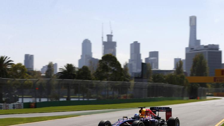 Red Bull Formula One driver Vettel of Germany drives during the first practice session of the Australian F1 Grand Prix in Melbourne