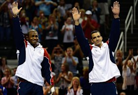 (L-R) John Orozco and Danell Leyva celebrate after being named to the men's Olympic team. (Ronald Martinez/Getty Images)