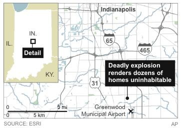 A map locating the neighborhood where a deadly explosion has rendered dozens of homes uninhabitable.